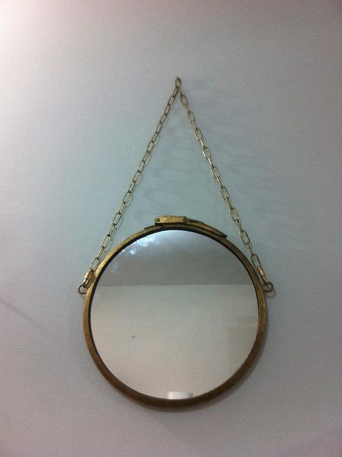 Espelho Industrial 37 cm de diâmetro Ouro envelhecido