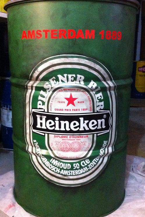 Tambor decorado Heineken - Tampa removível - Sem alças - G