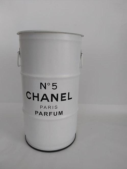 Tambor decorativo Chanel Branco P - Tampa de Madeira