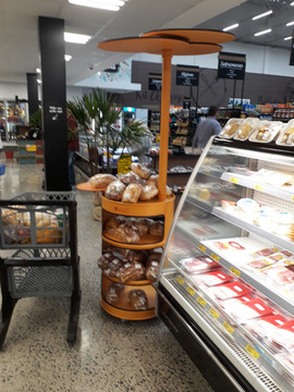 Tambor expositor no supermercado