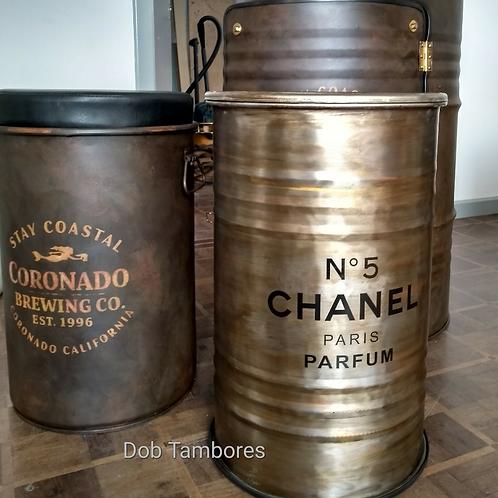 Tambor Chanel escovado Estanho M Frisado