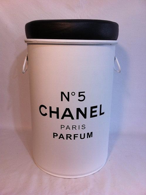Tonel tambor Chanel n 5 -Branco- Tampa remove, alças, PUFF  M