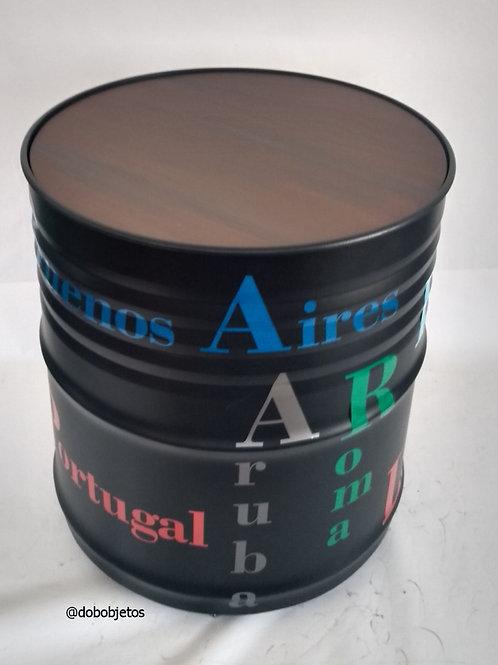 Mesa  de tambor com rodízios - Aparador alto Personalização 360.