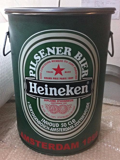 Tambor decorativo Heineken -Tampa removível -Alças - M