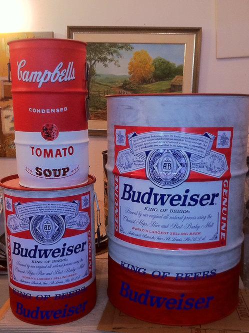 Tonel decorativo Budweiser - Tampa removível - Sem alças - G