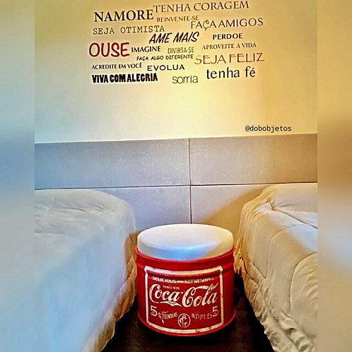 Tambor com Puff Coca-Cola vintage