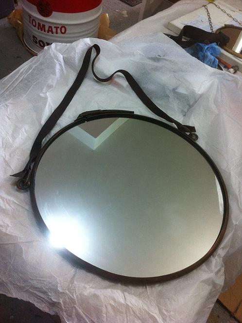 Espelho Industrial  60 cm diâmetro Moldura Bronze Envelhecido.