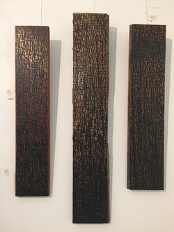 Blackletter on Wooden Triptych