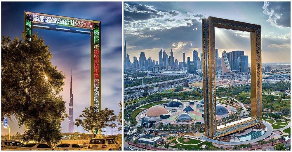 View the dubai Skyline from the Dubai Frame. A mandotary Photostop.