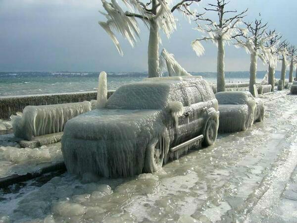 Polar Vortex, frozen, ice encrusted car.