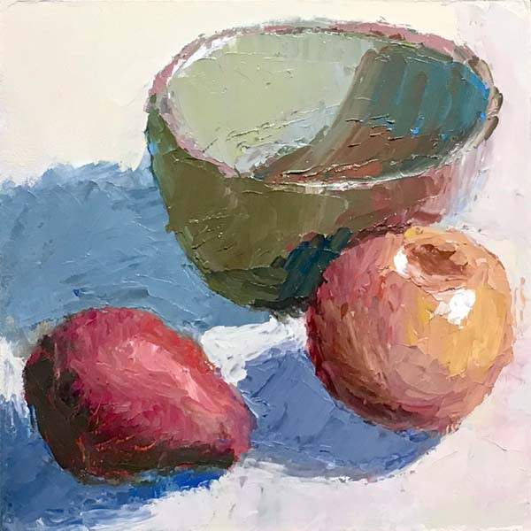 small still life painting showing a red pear, red apple, green bowl.