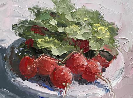 Still Life Painting Of Radishes