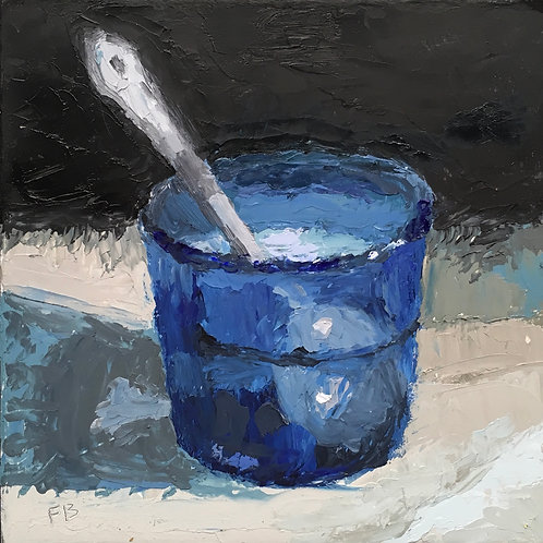 Blue Glass and Spoon