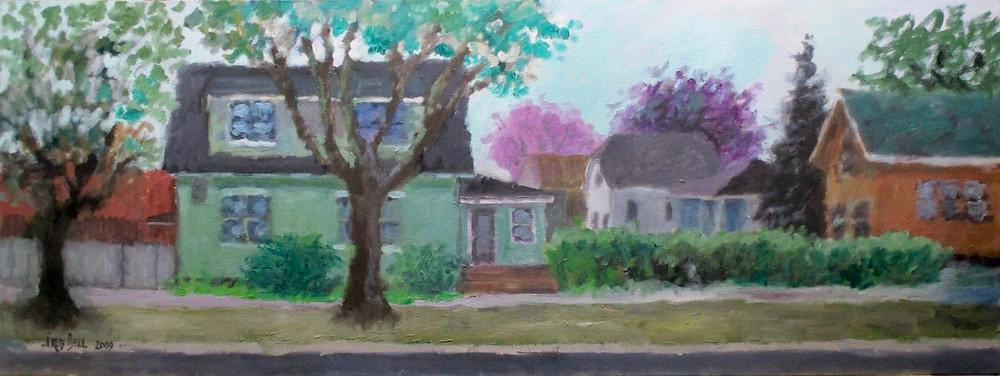 "18x48"" oil painting of my neighborhood"