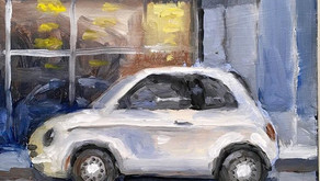Fiat 500 Painting Of A Car On The Street