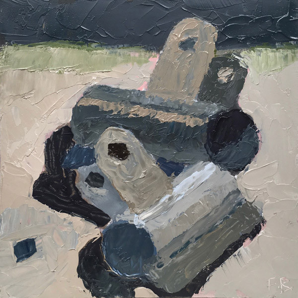 """""""Dark Clips"""" small still life painting in dark colors of binder clips"""