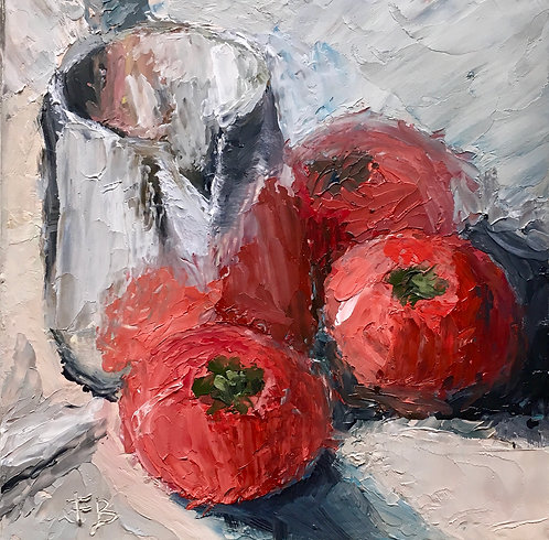 Three Tomatoes, still life painting