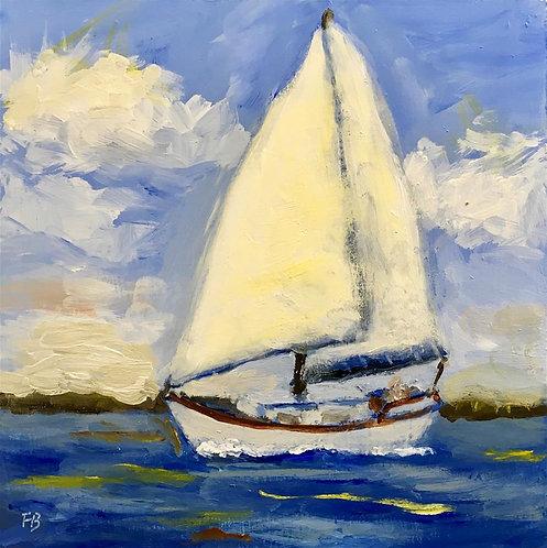 """Sailaway, Sailaway, 6x6"""" sailboat painting"""