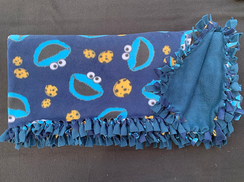 Cookie Monster Double Knotted Fleece Blanket