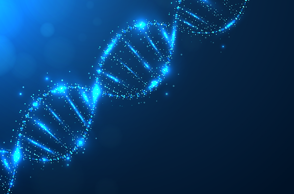 An image of DNA in a dark blue background