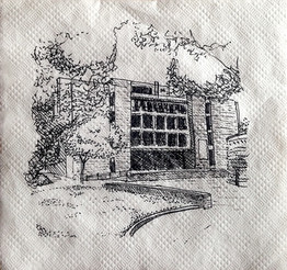 """Meyerson Hall, University of Pennsylvania Ink on Napkin 4"""" x 4""""  To take a break from studio during my Master's program, I often found myself going outside and drawing quick 10-minute sketches of the surrounding buildings."""