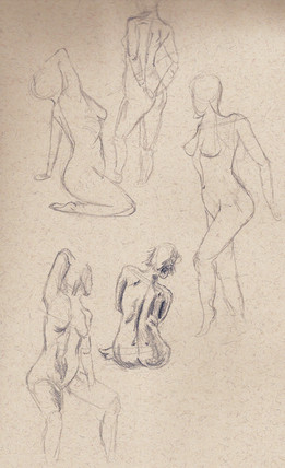 Figure Drawings Pressed Charcoal on Brown Paper