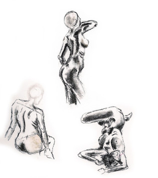 Figure Drawings Pressed Charcoal on Paper  Capturing the human-form is so difficult looking to mimic fluid curves from real life to paper. For me, nude-models are the most challenging yet most rewarding.
