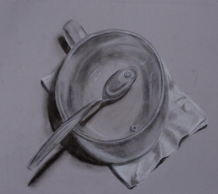 """Medium: Charcoal pencil, white conte crayon 24"""" x 24""""  Still life to practice elements of shadows."""