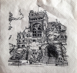 """Fisher Library of Fine Arts, University of Pennsylvania Ink on Napkin 4"""" x 4""""  To take a break from studio during my Master's program, I often found myself going outside and drawing quick 10-minute sketches of the surrounding buildings."""