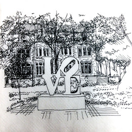 """Love Sculpture, College Green, University of Pennsylvania Ink on Napkin 4"""" x 4""""  To take a break from studio during my Master's program, I often found myself going outside and drawing quick 10-minute sketches of the surrounding buildings."""