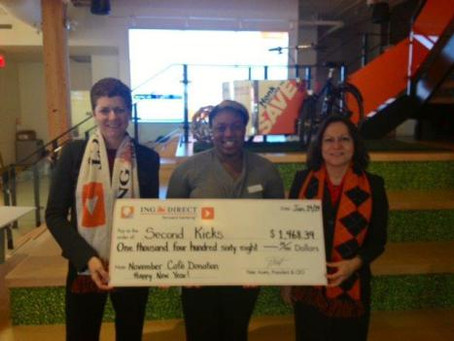 Thanks to our good friends and terrific supporters at ING Direct -generous donation will help our 20
