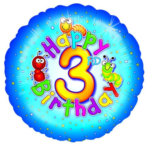 Happy 3rd Birthday Foil Balloon at Cardella (GX1)