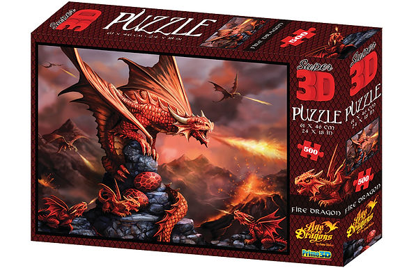"""Anne Stokes """"Age of Dragons"""" Fire Dragon Super 3D 500 piece puzzle at JJ Toys"""