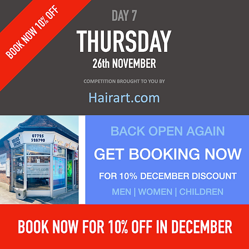 Hairart Book now for 10% off December bookings