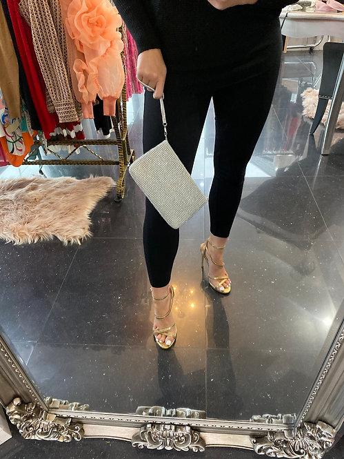 Silver Diamante Clutch Bag at Blush Boutique (GX)