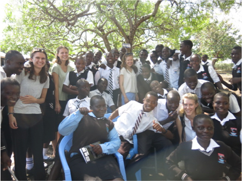 Me and members of the international group Linn, Anna  and Lovisa pictured with some of the students