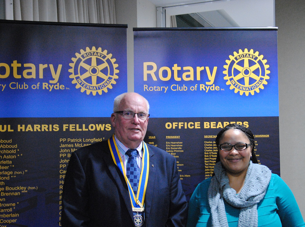 President John Brown, Rotary Club of Ryde and Grace Moyo, Advisory Committee Coordinator