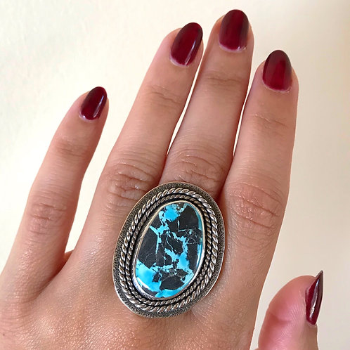 Blue Moon Turquoise Textured Shield Ring | Size 8.25-8.5