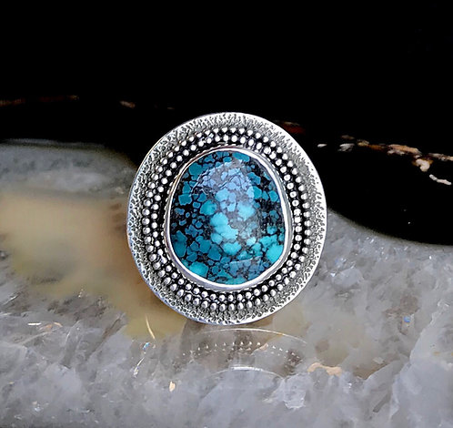Hubei Turquoise Textured Shield Ring | Size 7-7.25