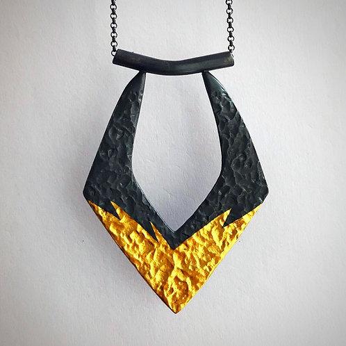Golden Goddess Necklace | 24 karat Gold + Blackened Sterling Silver