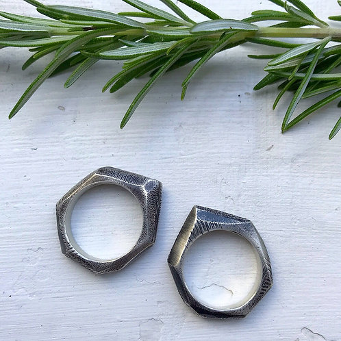 Distressed Facet Ring | Sterling Silver | Size: 7, 7.5, 8