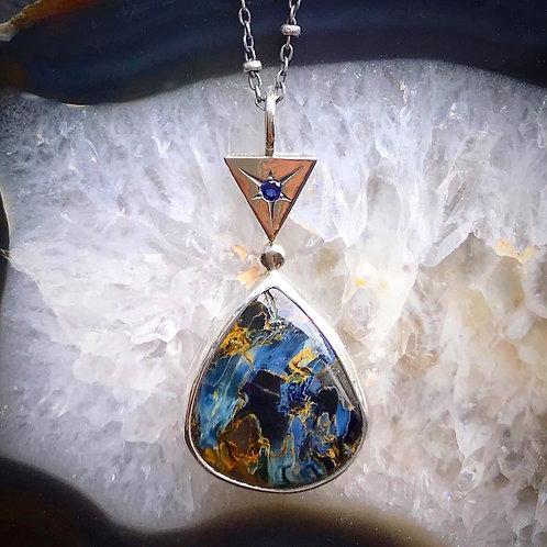 """""""North Star""""   Pietersite & Blue Sapphire Necklace #2   18"""" Chain"""