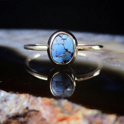 Golden Hills Lavender Turquoise solid 14k Gold ring | Size 6.5