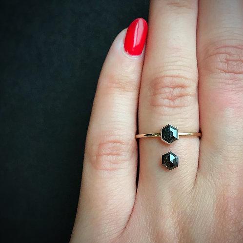 Made To Order Diamond Hex Ring | 14k Yellow Gold | .475 ct Salt & Pepper Diamond