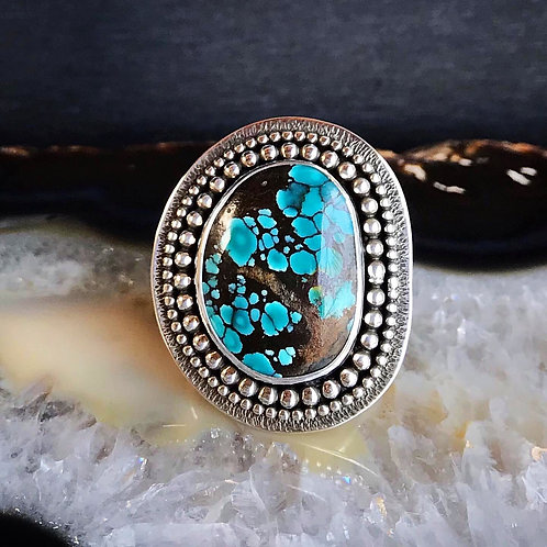 Hubei Turquoise Textured Shield Ring | Size 7