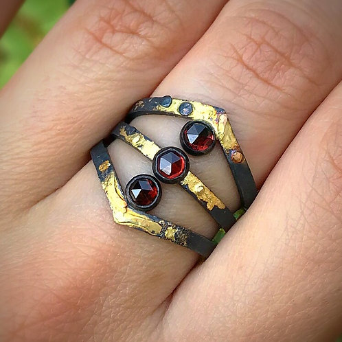 Garnet Crown Ring | 14k Gold & Sterling Silver
