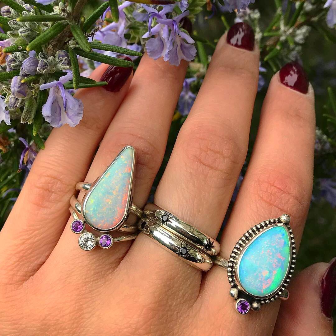 Opal Rings Black Fawn Jewelry
