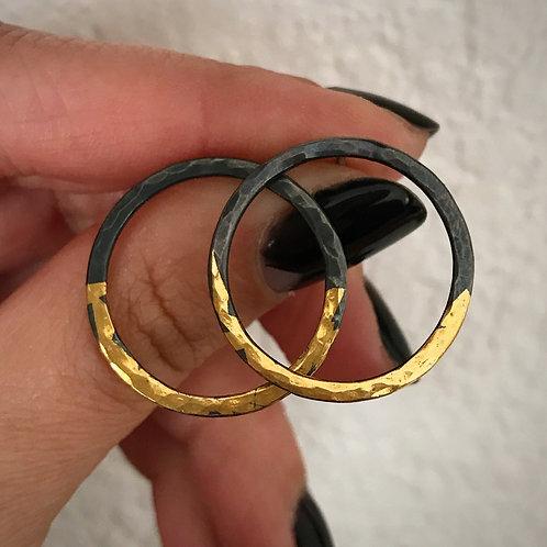 Rising Sun Hoops | 24 karat Gold + Blackened Sterling Silver