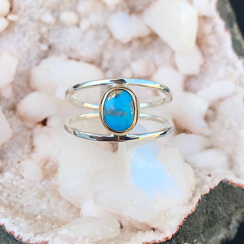 Turquoise Eye | 14k Gold + Sterling | Persian Turquoise | Size 6.75