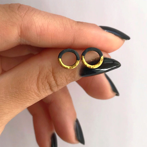 Rising Sun Mini Hoops | 24 karat Gold + Blackened Sterling Silver